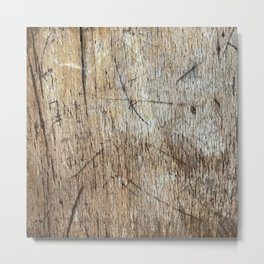Scratched Wood Metal Print