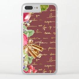 Elegant Christmas - burgundy rose Clear iPhone Case