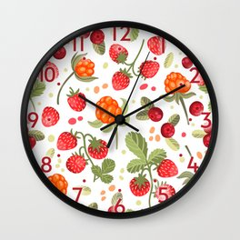 Vector pattern cranberries, strawberries, cloudberries Wall Clock