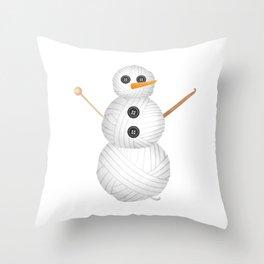 Yarn Snowman Throw Pillow