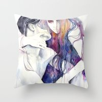 hair Throw Pillows featuring wakeful by agnes-cecile