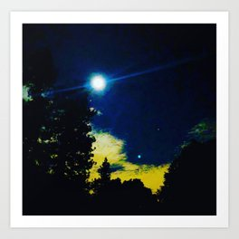 Full Moon Over Crystal Lake Campground Art Print