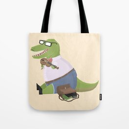 Hipster Dinosaur Jammin' on his Fiddle Tote Bag