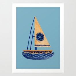 The Tribal Sailboat Art Print