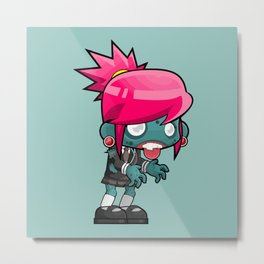 Female zombie cartoon Metal Print