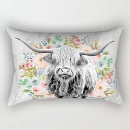 Highland Cow With Flowers on Marble Black and White Rectangular Pillow