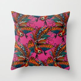 rooster ink pink Throw Pillow
