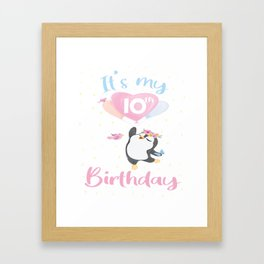 It's My 10th Birthday Penguin Girl 10 Years Old B-day product Framed Art Print