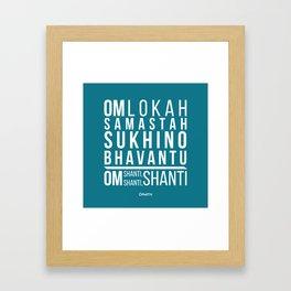 Lokah Samastah Mantra Yoga Blue Framed Art Print