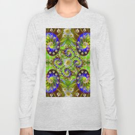 ULTRA VIOLET GREEN DAFFODIL GARDEN MAZE Long Sleeve T-shirt