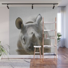 Baby Rhino - Colorful Wall Mural