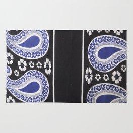 Black and Blue Tanzanian Fabric 3 Rug