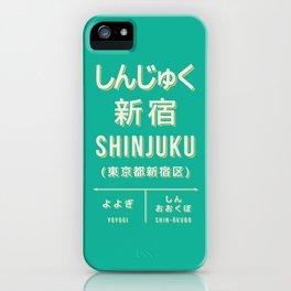 Retro Vintage Japan Train Station Sign - Shinjuku Tokyo Green iPhone Case
