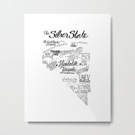Nevada Hand Drawn Type and Illustrations Metal Print