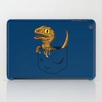 jurassic park iPad Cases featuring Pocket Raptor (Jurassic Park Velociraptor) by Tabner's