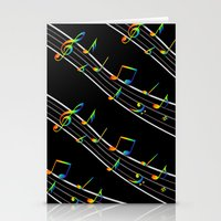 music notes Stationery Cards featuring Rainbow Music Notes on Black by GBC Design