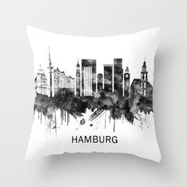 Hamburg Germany Skyline BW Throw Pillow