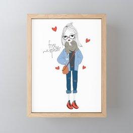 Free spirit girl Framed Mini Art Print