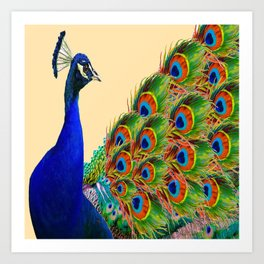 BLUE PEACOCK CREAM COLOR ART Art Print