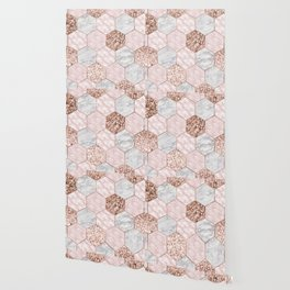 Rose gold dreaming - marble hexagons Wallpaper