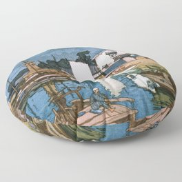 The Inland Sea Series, Second Series - Tomonoura Harbor - Digital Remastered Edition Floor Pillow