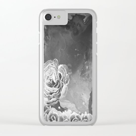 Mad Lucy's Golden Roses. Yellow Roses and Galaxy Blue in Black and White Shadow Clear iPhone Case