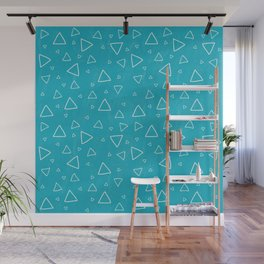 Baby Blue Triangle Pattern Wall Mural