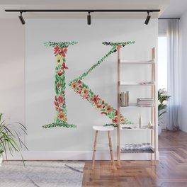 Floral Monogram Letter K Wall Mural