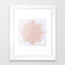 Rose Gold Mandala on White Marble Framed Art Print