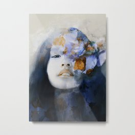 blue portrait (woman with flower) Metal Print