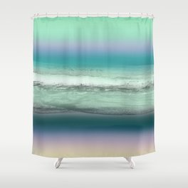 Twilight Sea in Shades of Green and Lavender Shower Curtain