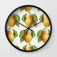 pear Wall Clocks featuring Pear by Grace