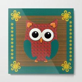 Cute Pink and Teal Floral Owl  Metal Print