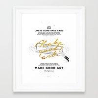 neil gaiman Framed Art Prints featuring Make Good Art - Neil Gaiman by thatfandomshop