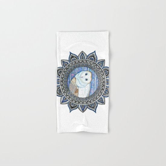 Winter Barn Owl Mandala Hand & Bath Towel