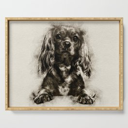 Cavalier King Charles Spaniel Puppy Sketch Serving Tray