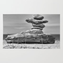 The Cairn in Black and White Rug