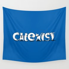 Cat Exist | Coexist Parody Typography Wall Tapestry