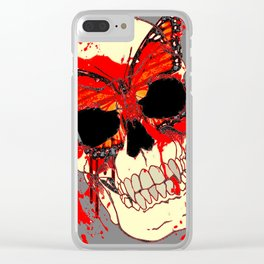 HALLOWEEN BLOODY SKULL & BUTTERFLY ART Clear iPhone Case