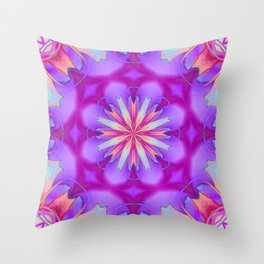 Ruby Red Spider Lily Neon Kaleidoscope Throw Pillow