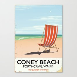 Coney Beach, Porthcawl, wales vintage seaside poster Canvas Print