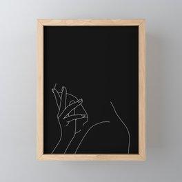 Hand on neck line drawing - Josie Black Framed Mini Art Print