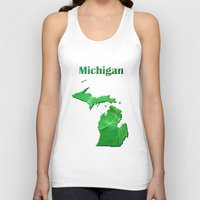 michigan Tank Tops featuring Michigan Map by Roger Wedegis