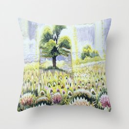 Fields of Flowering Clover blossoms landscape floral painting by C. Burchfield Throw Pillow