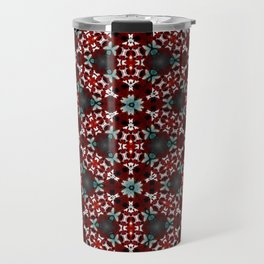 Dark Red and Green Flower Pattern Travel Mug