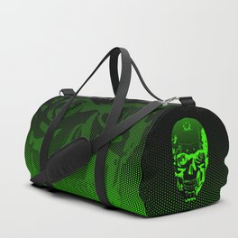 Gamer Skull CARTOON GREEN / 3D render of cyborg head Duffle Bag