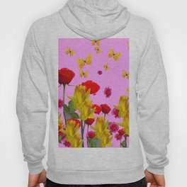 DECORATIVE YELLOW BUTTERFLIES, RED ROSES, DAFFODILS SPRING FLOWERS Hoody