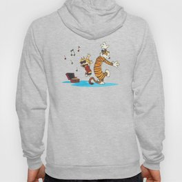 calvin and hobbes dancing with music Hoody