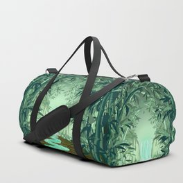 Fluorescent Waterfall on Surreal Bamboo Forest Duffle Bag
