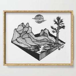 """Geometric Ridge"" Hand-Drawn by Dark  Mountain  Arts Serving Tray"
